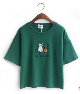 967f6e0c4b14a Merry Pretty Harajuku t shirt women Korean style t-shirt tee kawaii cat  embroidery cotton