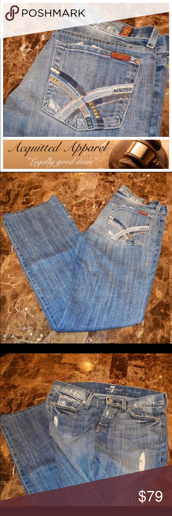 85939a22938 🆕 Bling Distressed 7 For All Mankind Jeans 32