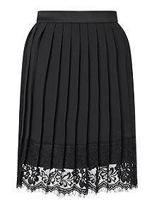 View product Miss Selfridge Black Pleat Lace Hem Skirt