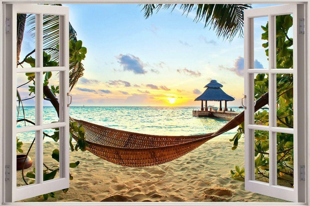 Huge 3D Window Exotic Ocean Beach View Wall Stickers Film