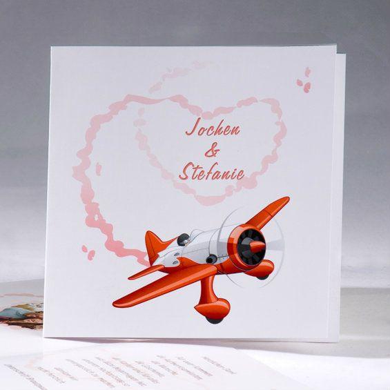 Lustige Rotes Flugzeug Hochzeitseinladungen