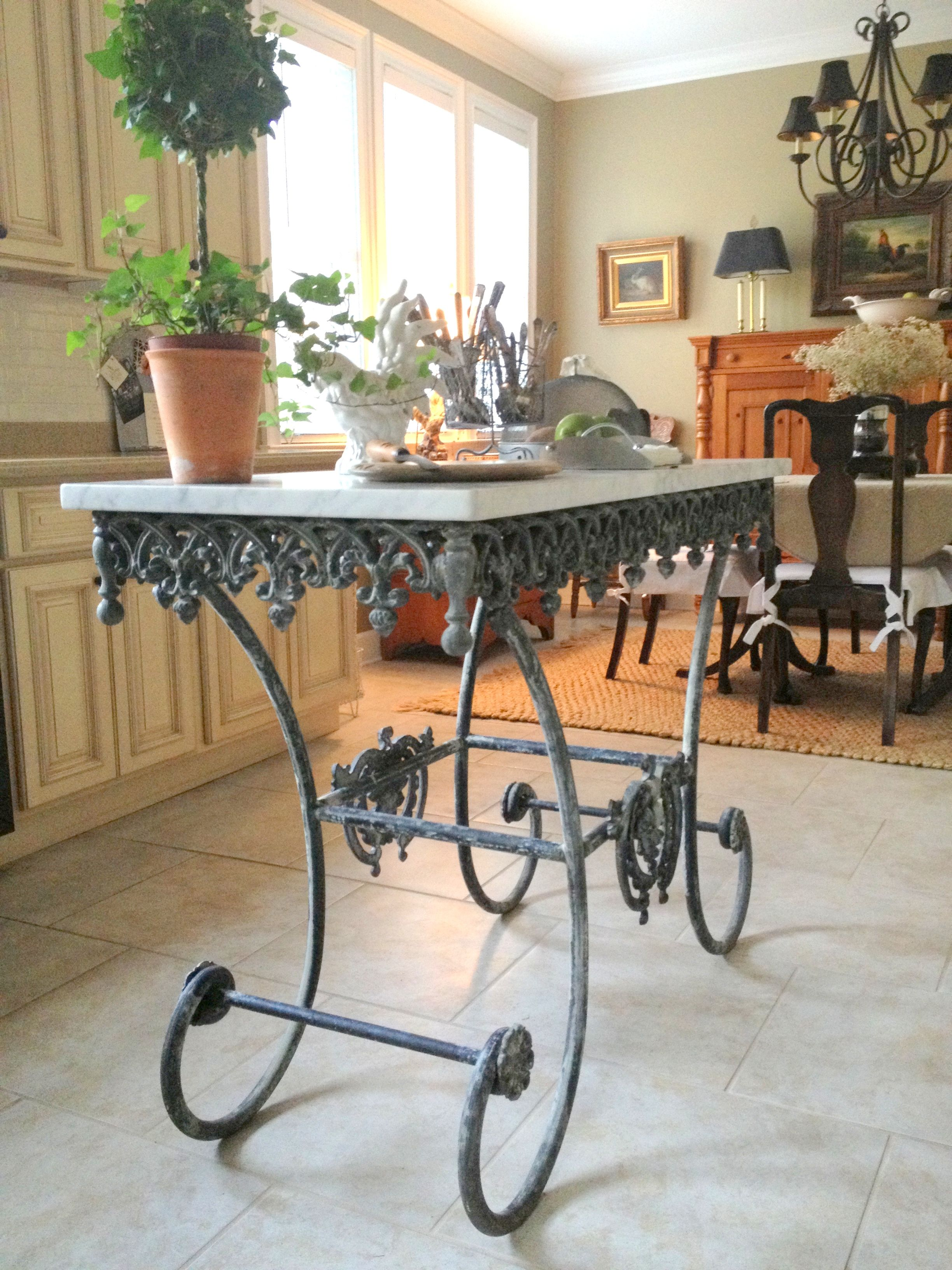 French pastry table island Country style kitchen