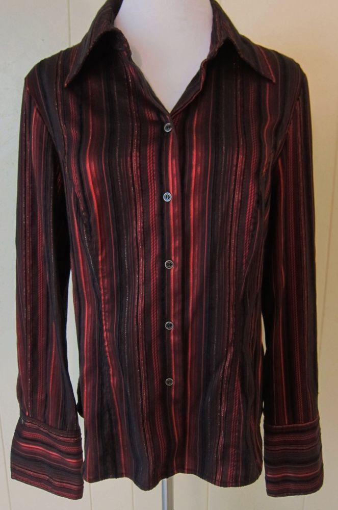 Women's Size 10 Long Sleeve Red & Black With Metallic Stripe Top By Tribal #Tribal #ButtonDownShirt