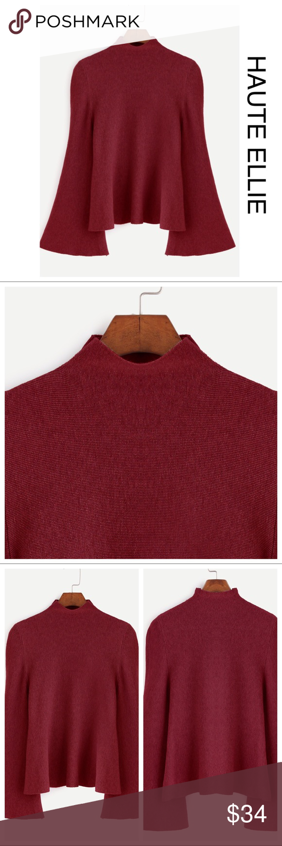 🆕 Big Bell Mock Neck Sweater- Burgundy Boutique | Mock neck