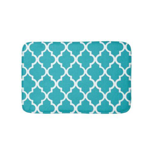 Peacock Teal Quatrefoil Tiles Pattern Bathroom Mat