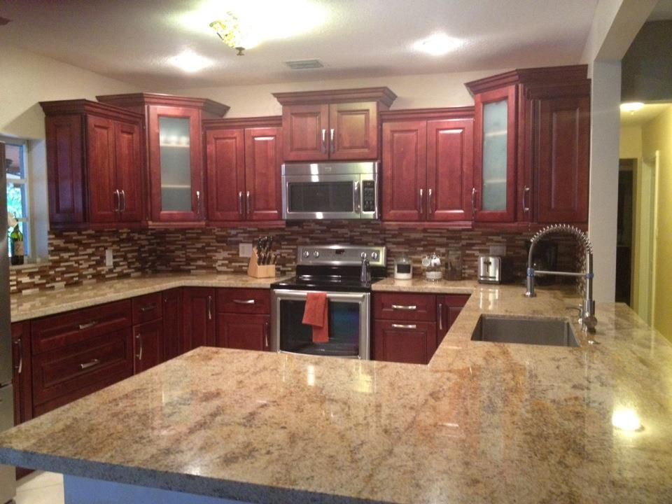 Thanks To Peggy And Julio It Was A Pleasure Working With You. Koky Cherry  Cabinets · Glass Tile BacksplashGlass ...