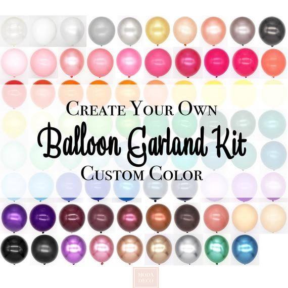 Custom DIY Balloon Garland Kit. Huge Selection of Colors to Create Your Personalized Balloon Arch Kit. For Birthdays, Baby Showers, Weddings #balloonarch