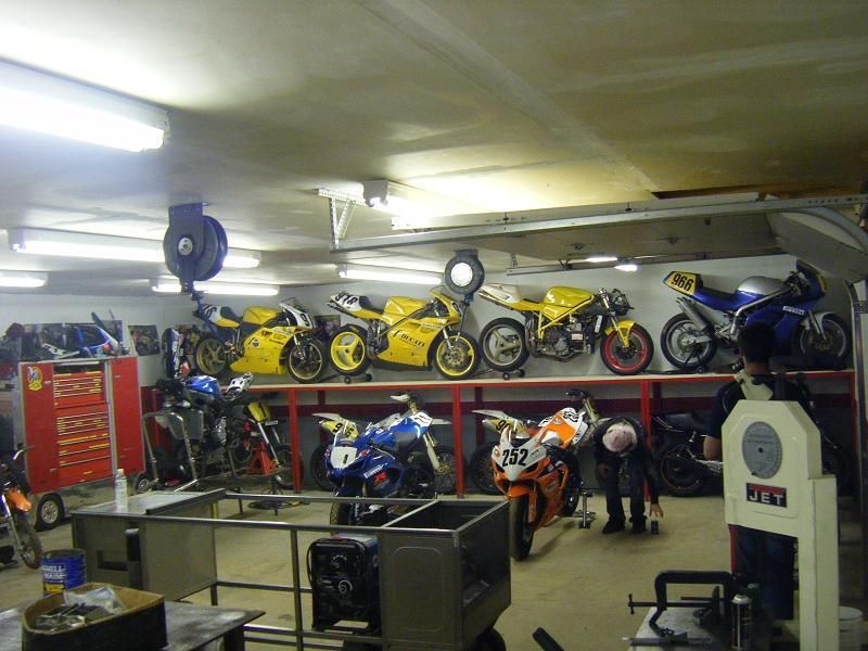 what 39 s the best way to fit multiple bikes in a small garage page 3 advrider dream garage. Black Bedroom Furniture Sets. Home Design Ideas