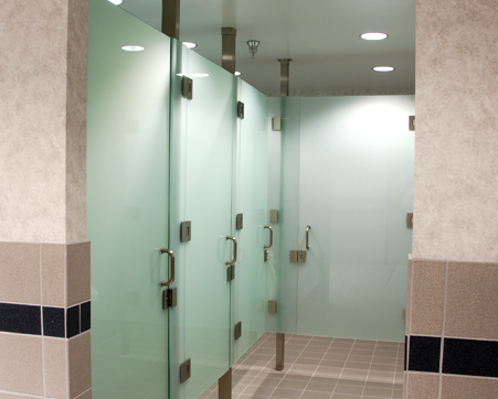 Crl s frameless 39 all glass 39 restroom partition system will - Commercial bathroom partition doors ...