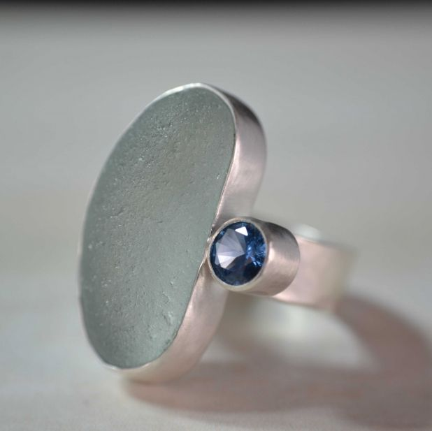 English Sea Glass Ring Modern Abstract and Contemporary Jewelry