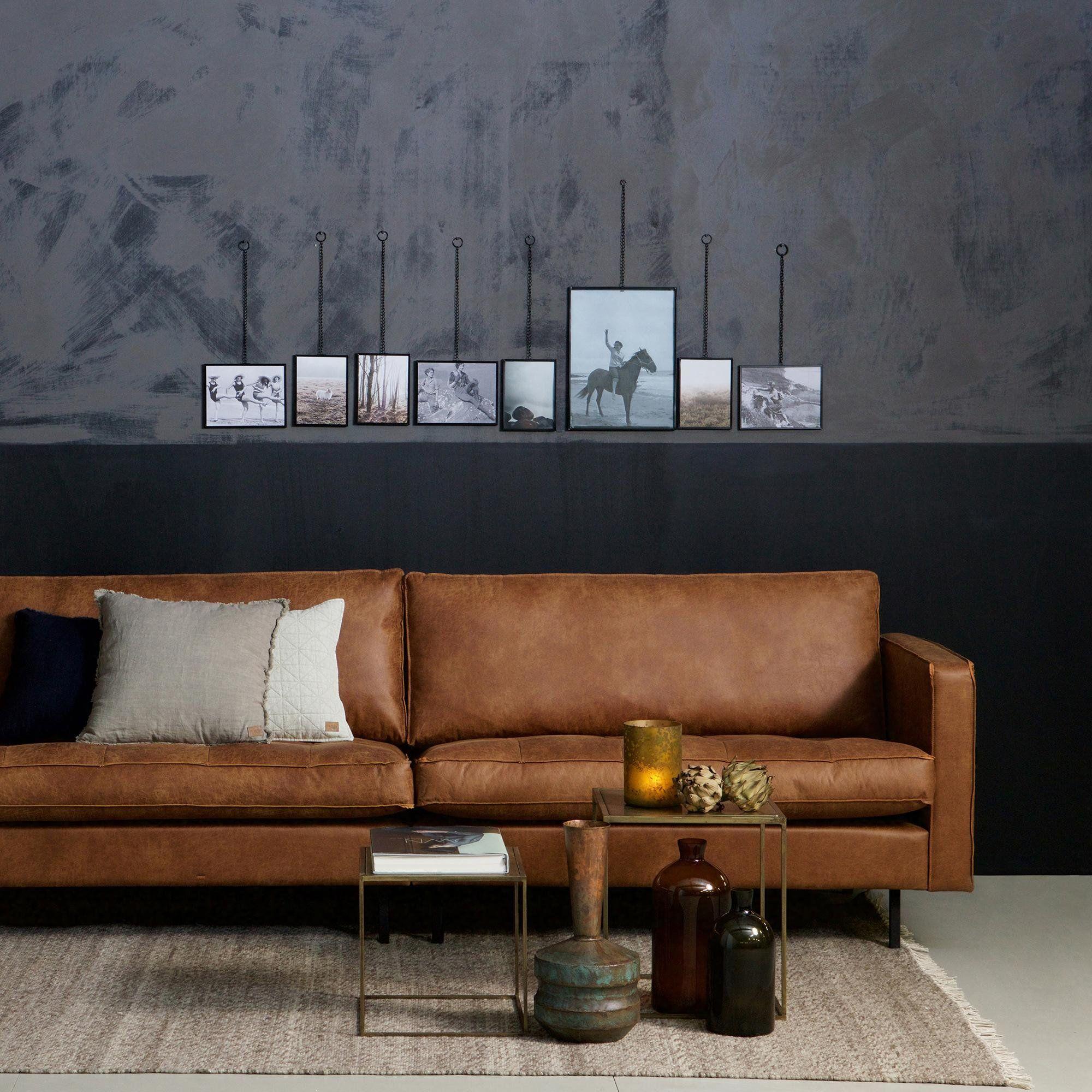 Stor Sofa i Cognac Øko Læder fra | BePureHome
