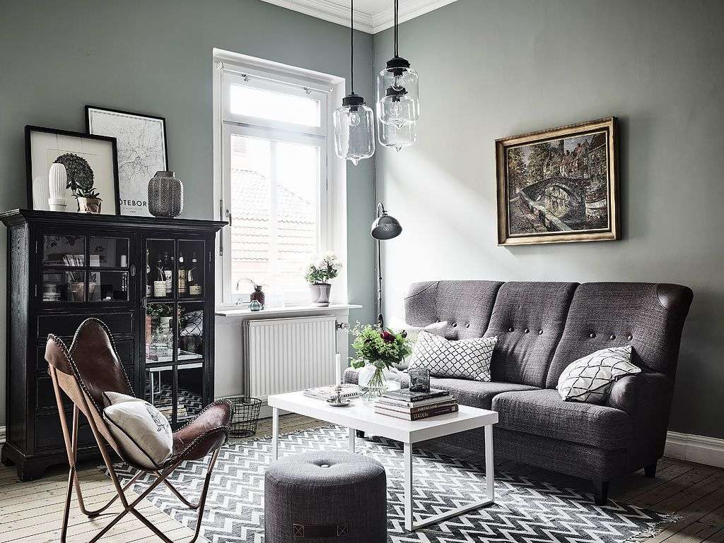 Grey and green living room | For the Home | Pinterest | Green living ...