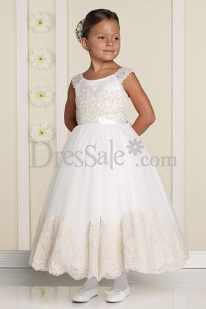 White Swan A-line Flower Girl Wear adorning Appliques