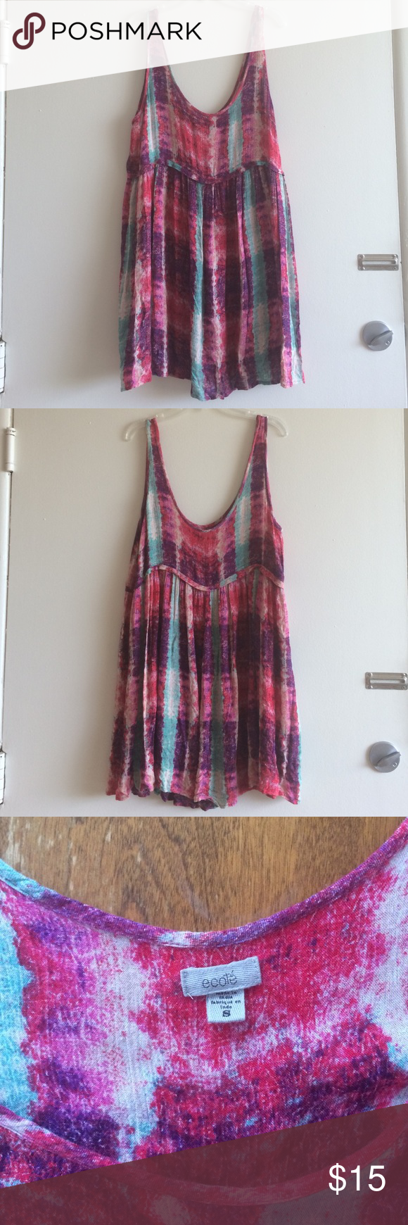 """Ecoté swing tank dress Multicolor 100% rayon loose swing dress with empire waist. Good condition except for a worn spot on the left strap (see pic 4). About 33"""" long. Urban Outfitters Dresses Mini"""