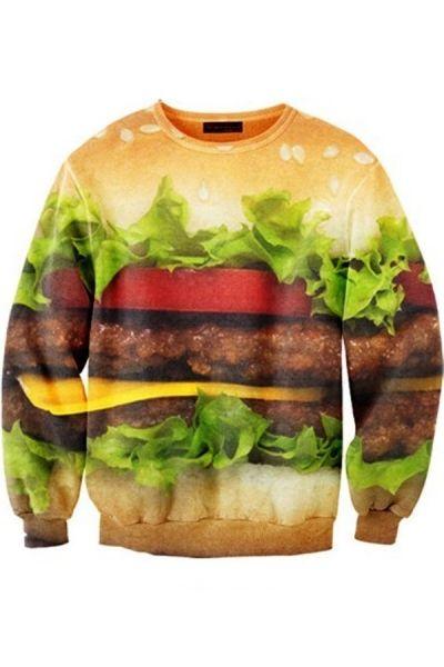 Delicious Hamburger Graphic Sweatshirt OASAP.com