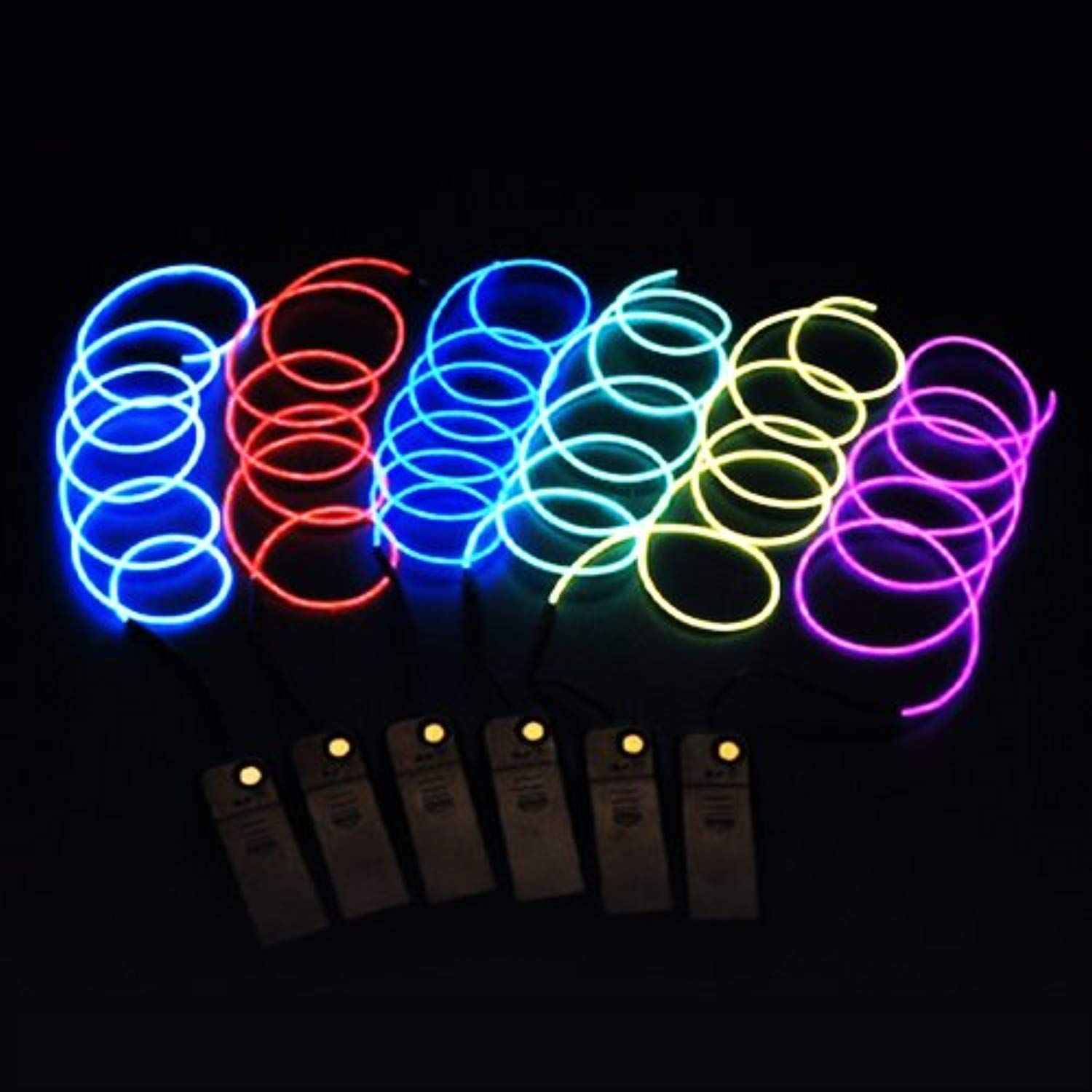 Mmall Free Bent 15ft 5m Indoor String Lights Neon Light El Wire Electroluminescent Glowing With Battery Pack For Christmas Tree