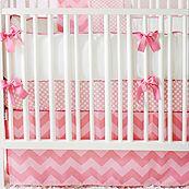 Zig Zag Baby Pink Sugar 2 Piece Crib Bedding Set - BabyBeddingZone.com