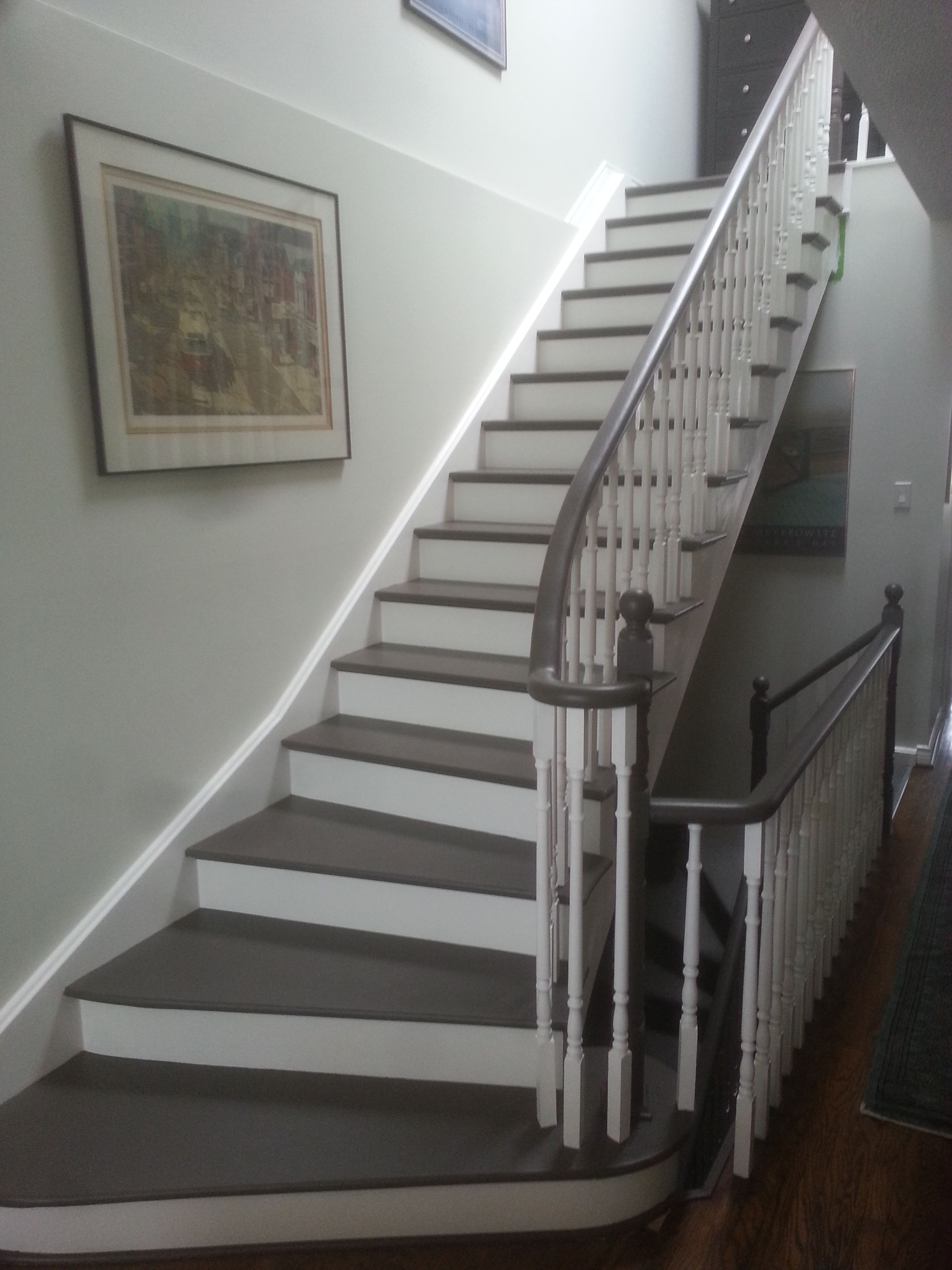 Beau Beautiful Painted Staircase, With Cork Treads.