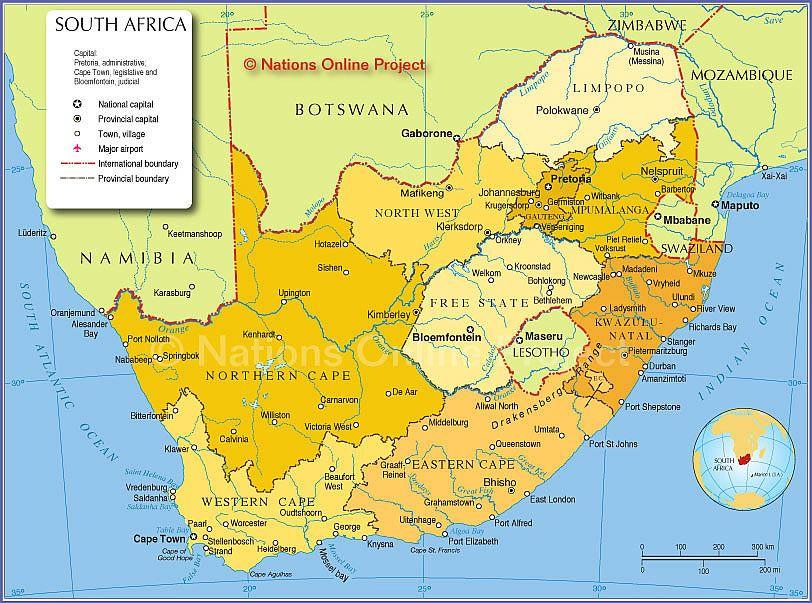 Political Map Of South Africa Provinces Afrika Karte Sudafrika