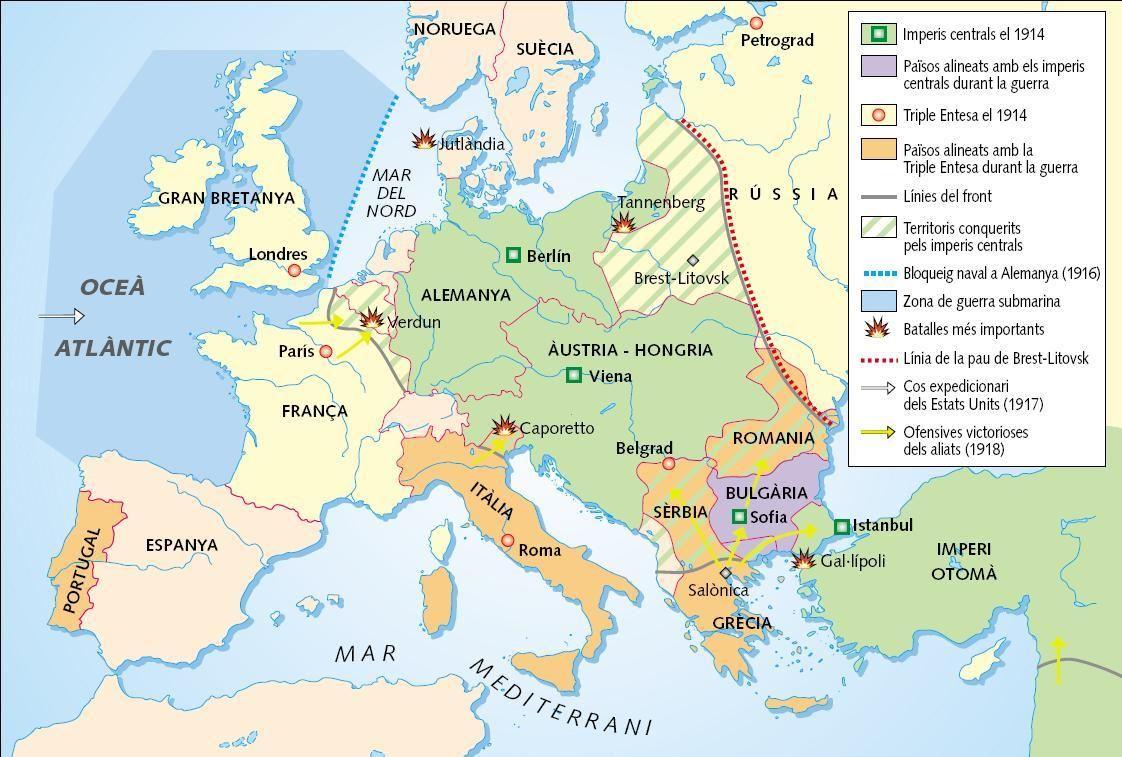 Resultado de imagen de mapa primera guerra mundial