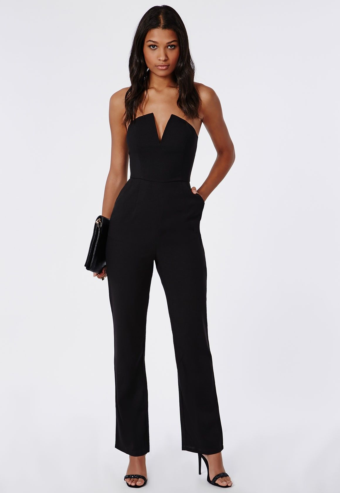 bandeau plunge wide leg jumpsuit black pinterest combinaison bustier d collet plongeant et. Black Bedroom Furniture Sets. Home Design Ideas