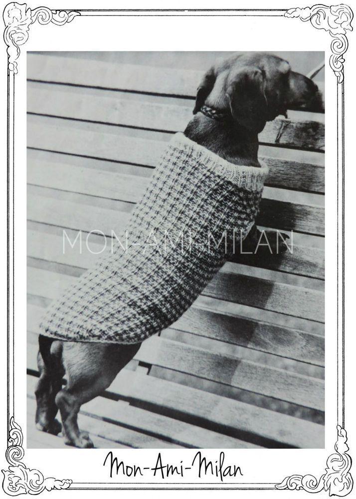 Vintage Knitting Pattern • DACHSHUND DOG COAT • SAUSAGE ...