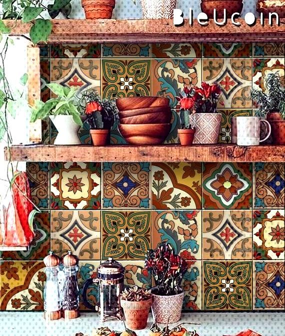 Tile / Wall / Stair Stickers Mexican Talavera Style - 22 MODELS - X 2 SETS (44 pieces)#mexican