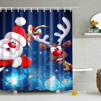 Christmas Santa Elk Print Fabric Waterproof Bath Shower Curtain