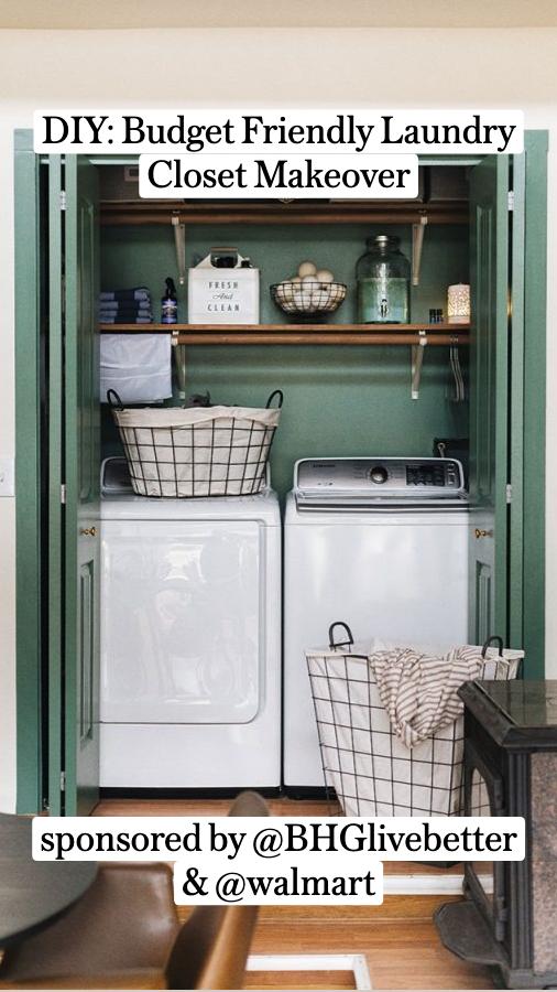 DIY: Budget Friendly Laundry Closet Makeoversponsored by @BHGlivebetter& @walmart