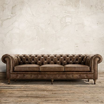 Wessex D Tufted Leather Sofa In Bronco Whiskey Arhaus - Arhaus club sofa