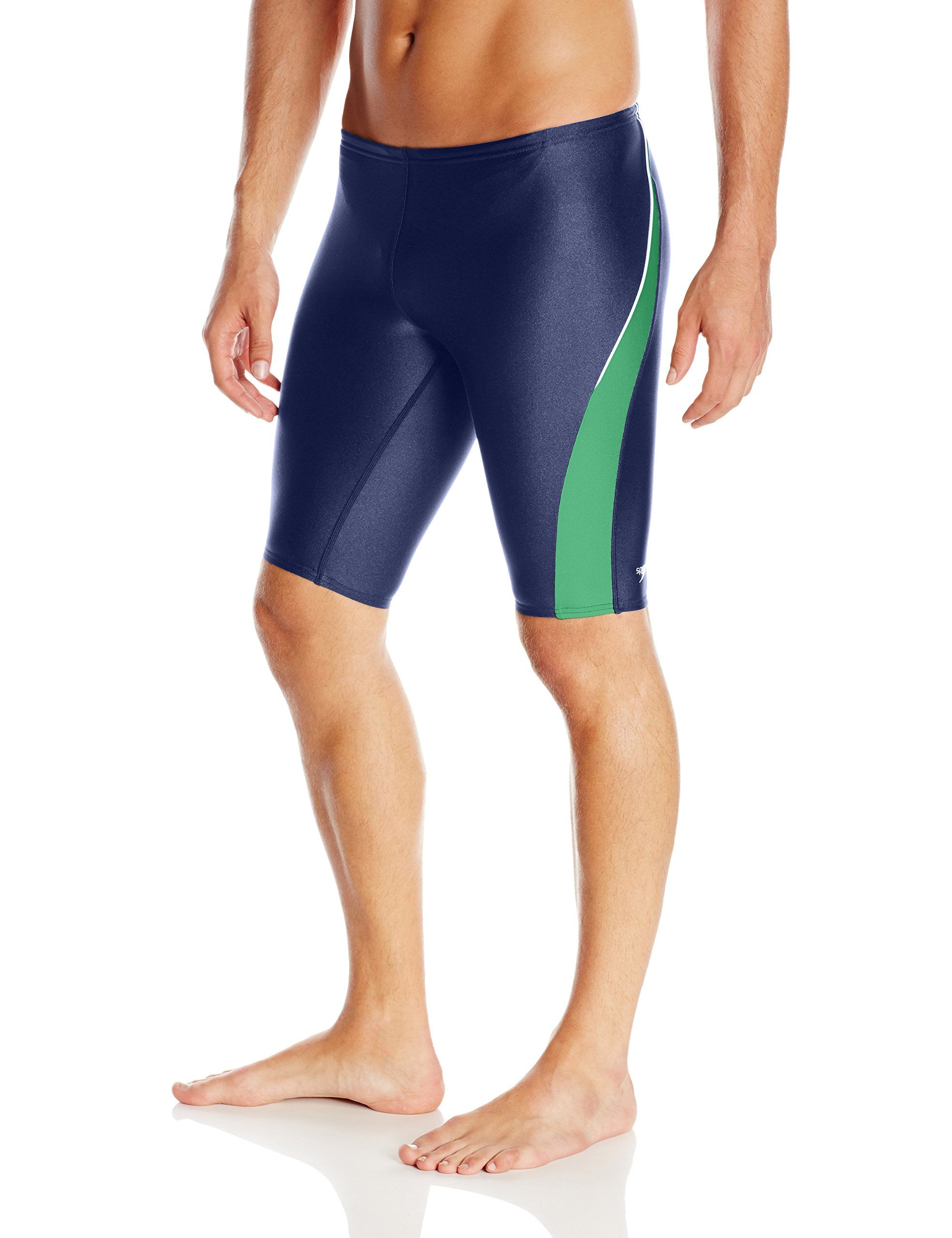 af84270147 Speedo Men's Xtra Life Lycra Taper Splice Jammer Swimsuit, Green/Blue, 30.