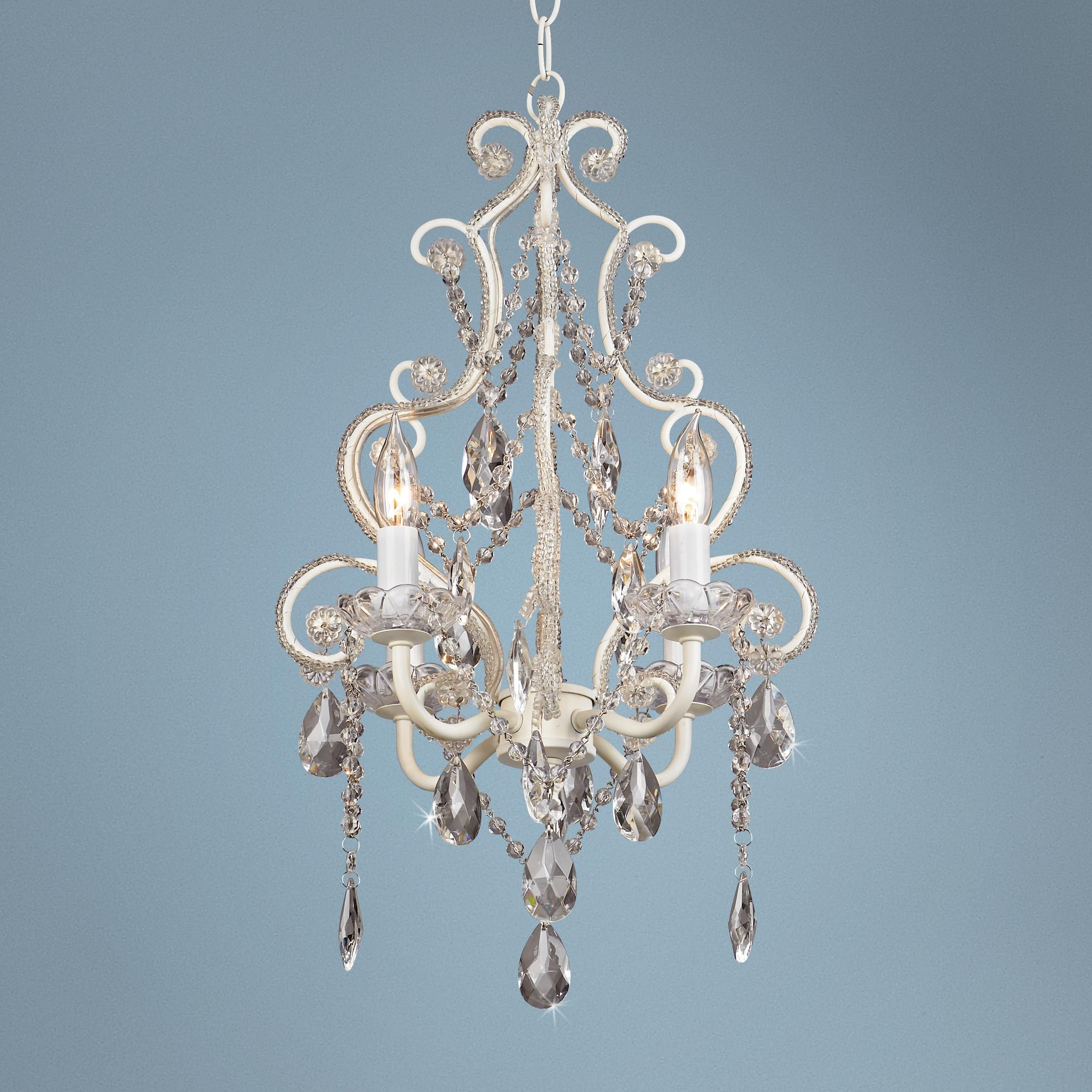 Leila White Clear Swag Plug in Chandelier Style