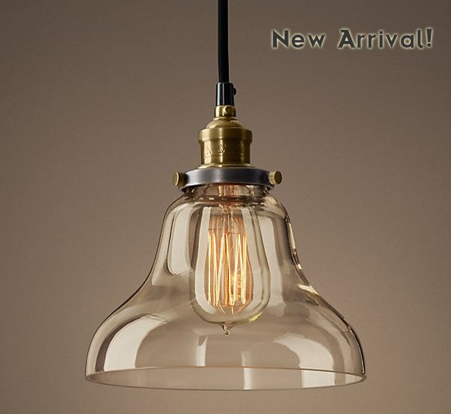 New Vintage Pendant Light Copper Clear Glass Hanging Lamp E27 110 220V For