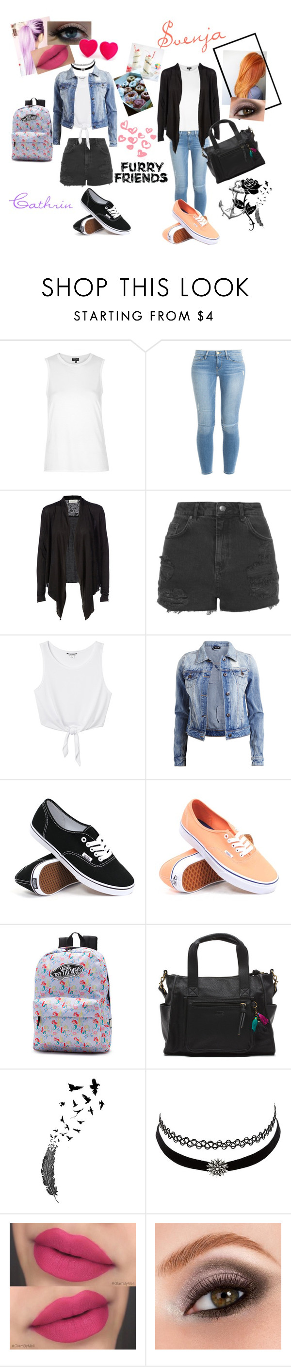 """""""Bestie."""" by caca-irwin ❤ liked on Polyvore featuring beauty, Topshop, Frame Denim, Rosemunde, Monki, VILA, Vans, Charlotte Russe, Gypsy and Avon"""