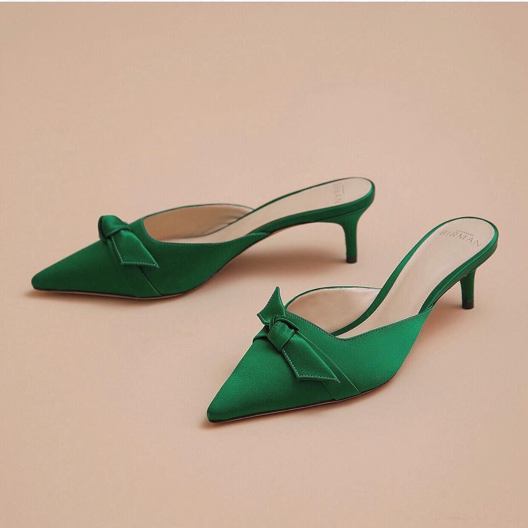 """1d23bac89c03 Alexandre Birman on Instagram  """"Kitten-heel Green Mules"""" Kitten Heel Shoes"""