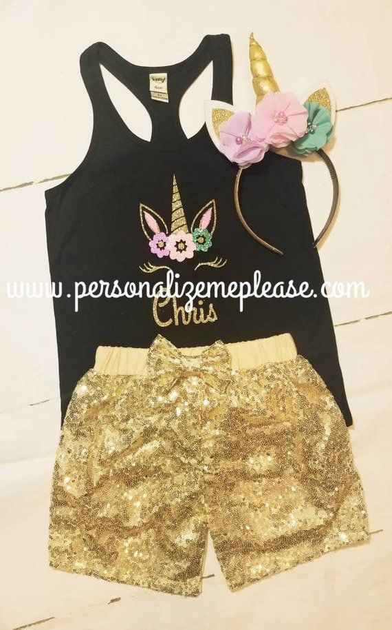 2b1b24b59f The cutest Unicorn Birthday set Ever!! The black racerback tank top is so  cute match the gold sequin shorts. COMPLETE 3 Piece Set (as pictured)  Includes  1 ...