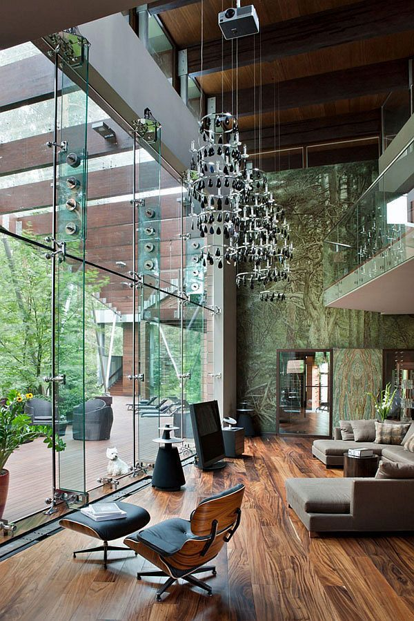 pendant lighting for high ceilings. Extra High Ceiling In A Wood Treatment + Glass Wall Floors Botanical Wallpaper Pendant Lighting For Ceilings Z