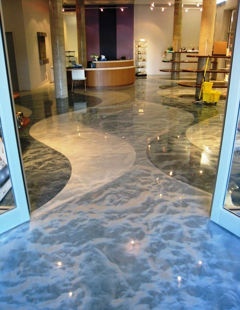 Pure metallic metallic epoxy floor coating pictures for Concrete floor covering