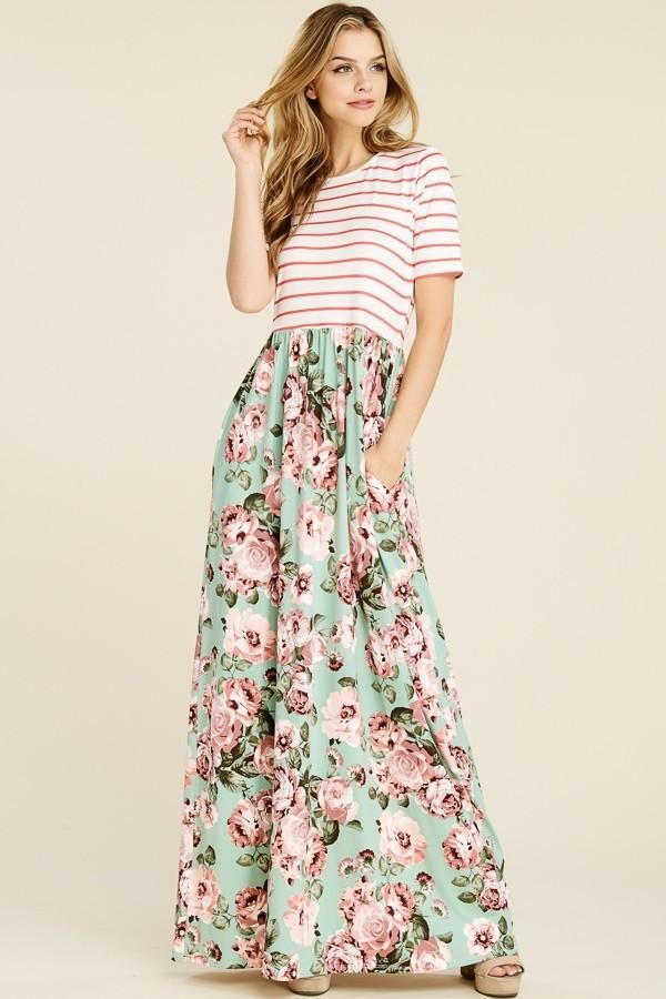Plus Size Floral Maxi Dress With Pockets in 2019 | Plus Size ...
