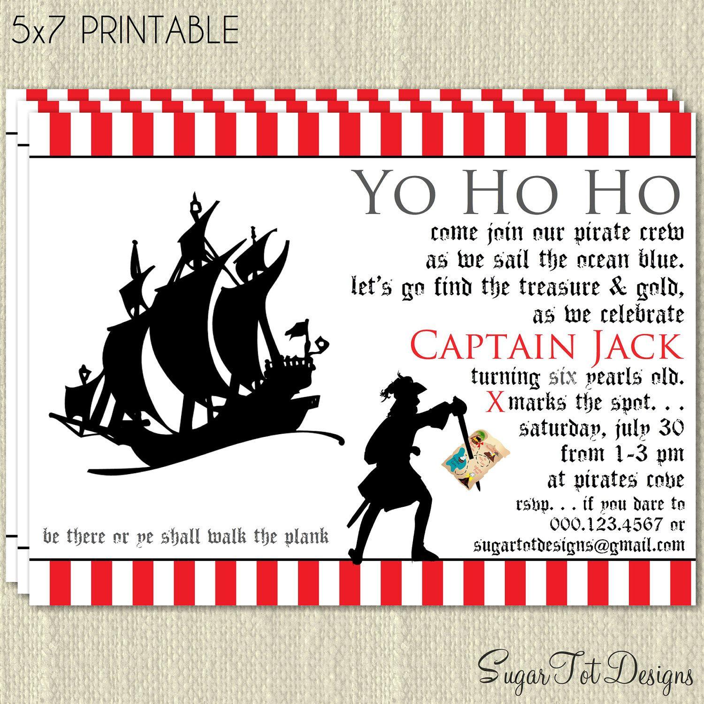 Pirate Invitation, Pirate Birthday Party Invitation, Hidden Treasure ...