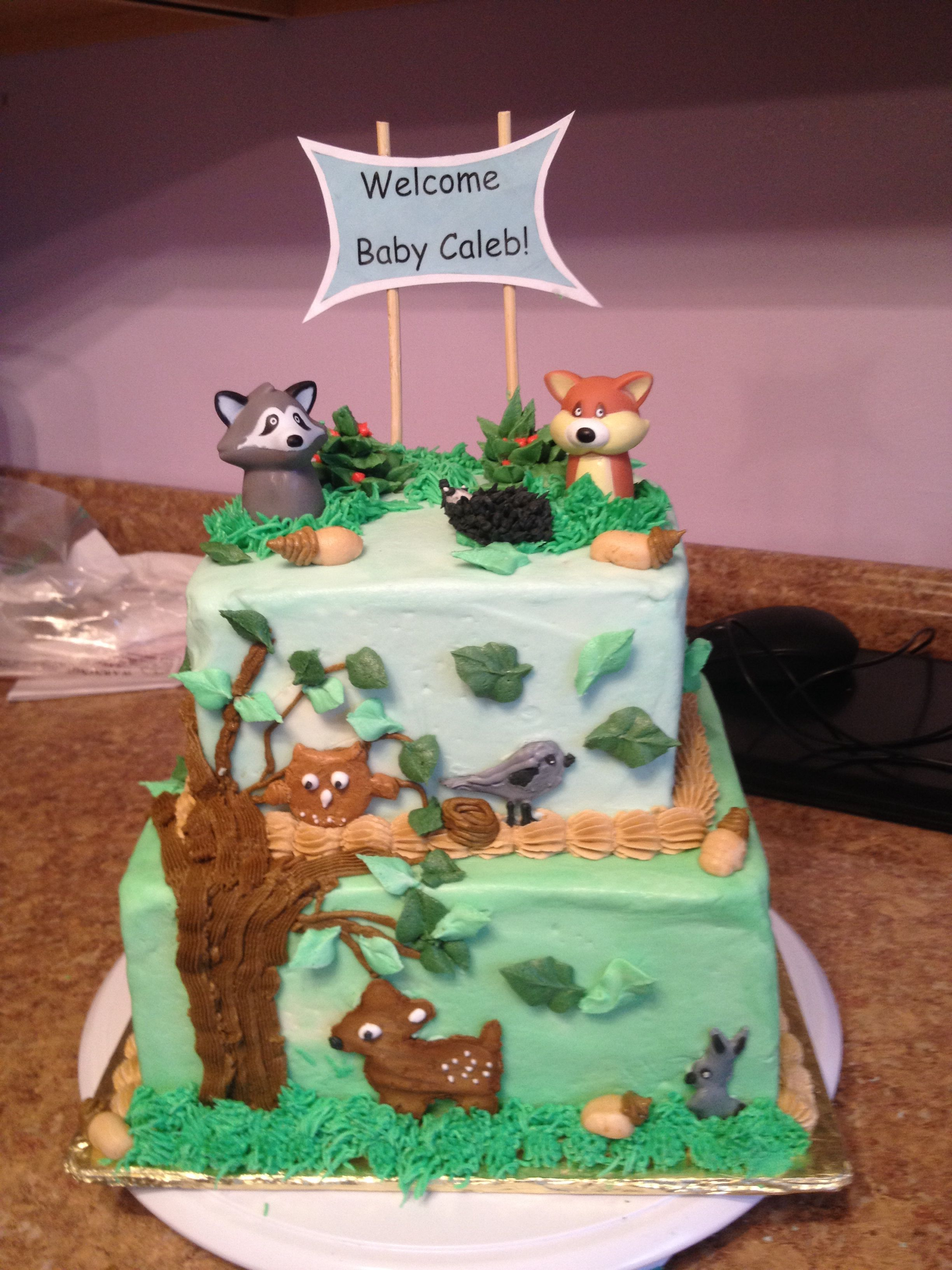 Woodland Forest Animals Cake Woodland Baby Shower Decorations Woodland Baby Shower Food Baby Shower Cakes