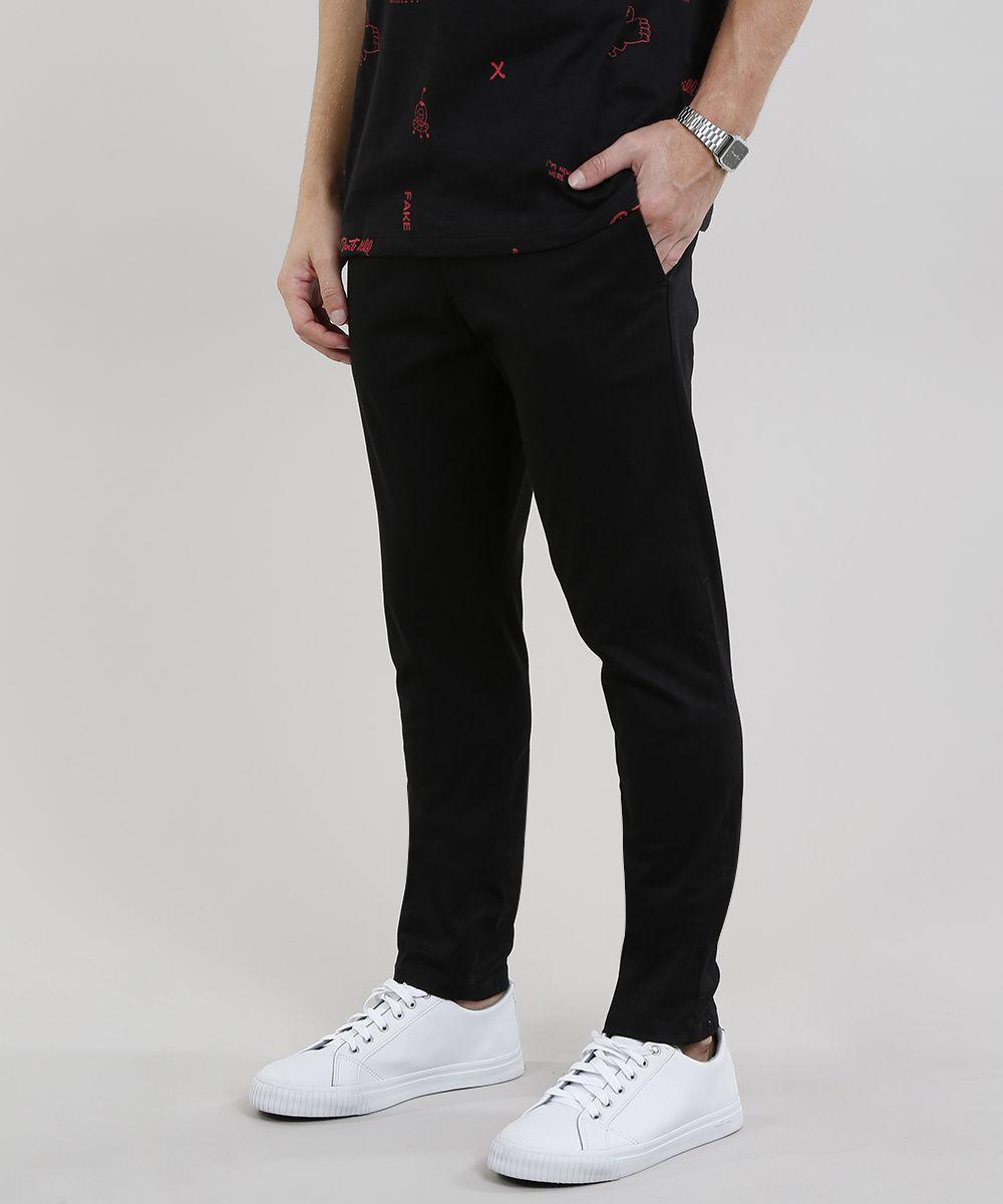 300f8a983 Calça de Sarja Masculina Chino Skinny Preta | Finder | Black jeans ...
