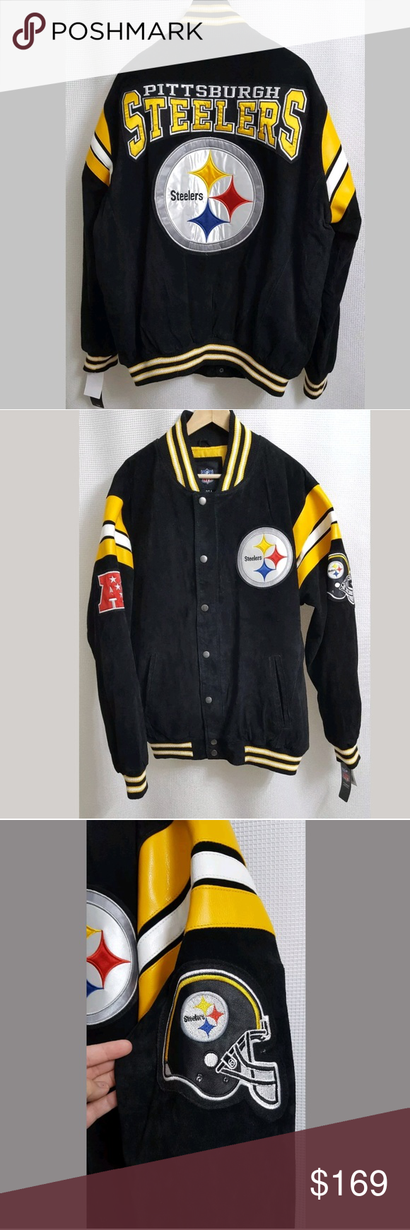 NWT NFL Pittsburgh Steelers Suede Leather Varsity This is