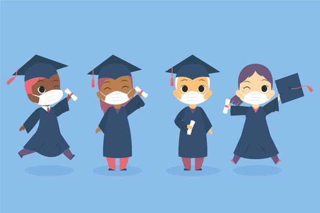 Download Graduates Wearing Face Masks Set for free