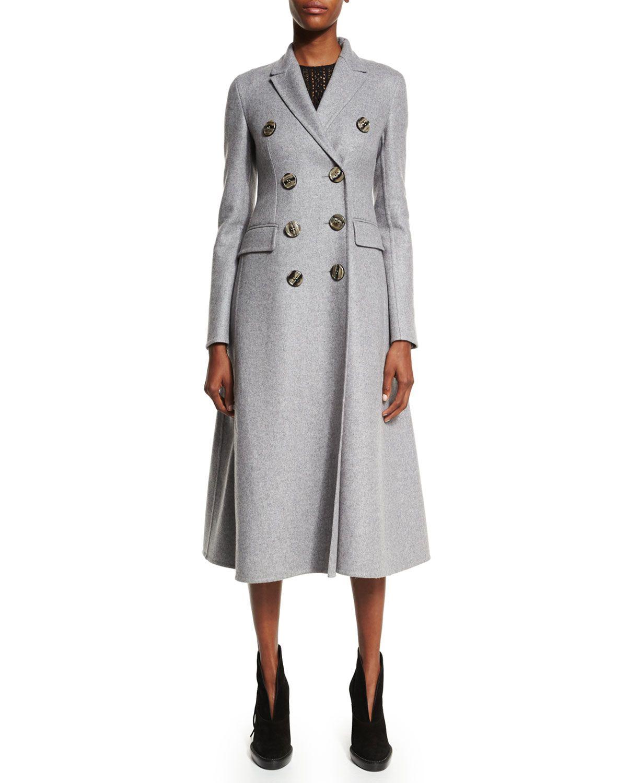 Double-Breasted Cashmere Long Coat, Light Gray Melange, Women's, Size: 46 (12 US), Light Grey Melang - Burberry Prorsum