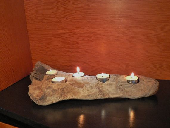 Create a statement with this natural, rustic 5 votive candle holder.    Beautifully aged and softened by time. I spend many happy hours