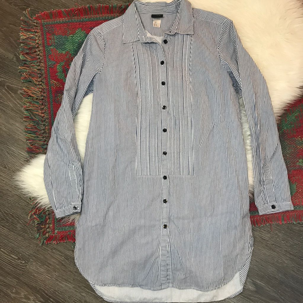 Hum striped button down tshirt dress long sleeve products