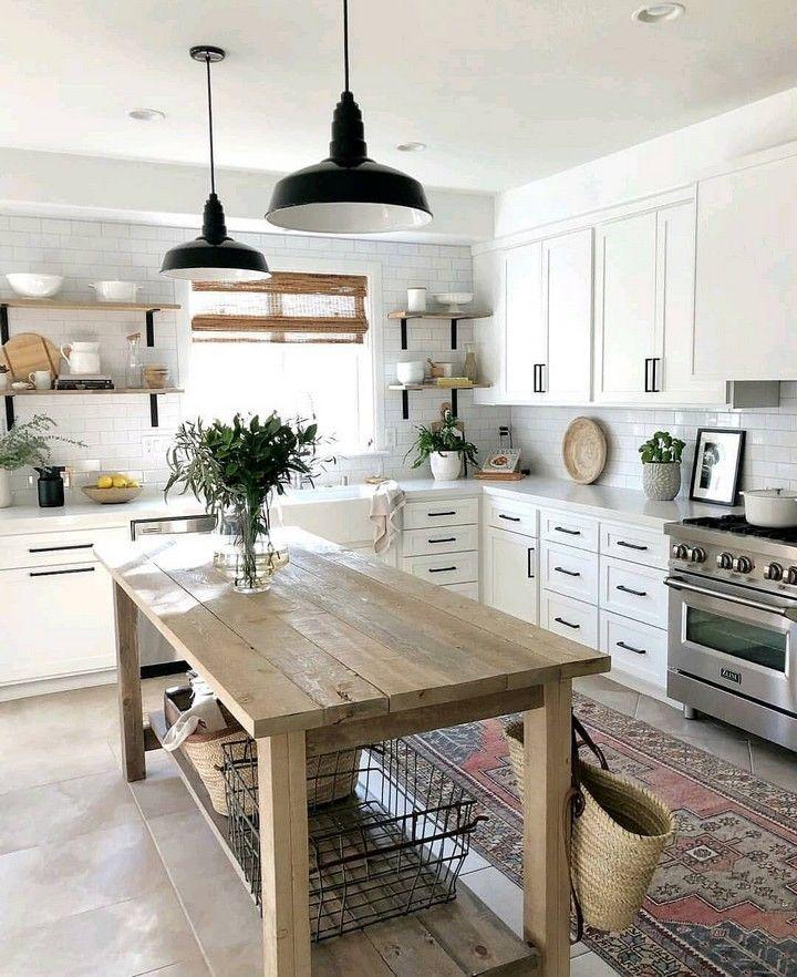 80 Modern Farmhouse Staircase Decor Ideas 64: Modern And Aesthetic Farmhouse Kitchen Lighting Ideas In