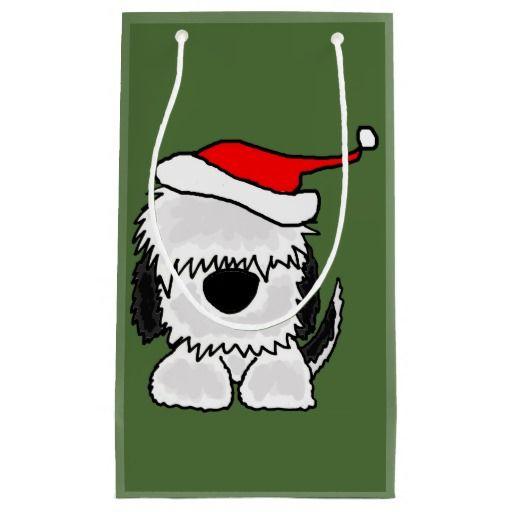 Fun Sheepdog in Santa Hat Christmas Gift Bag Funny, Christmas gift