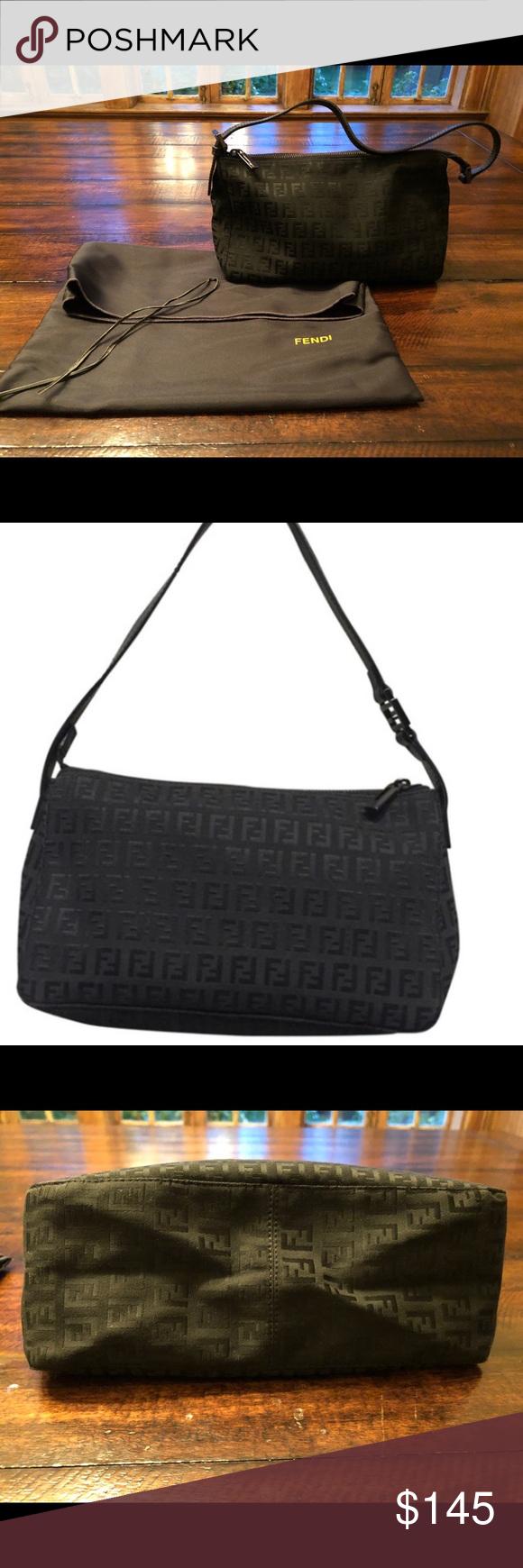 199c2cc8c32 Fendi Zucca Monogram Black Canvas Shoulder Bag Zucca Monogram Leather  (30453) Black Canvas Shoulder